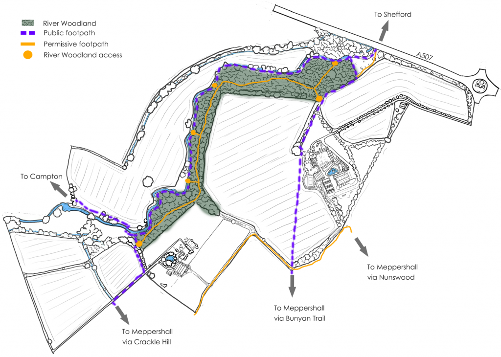 Polehanger Farm River Woodland map